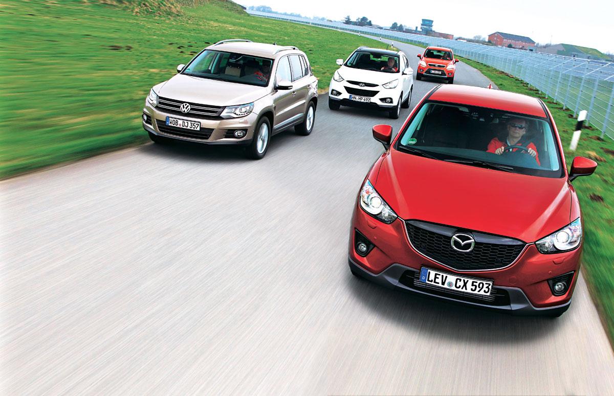 Mazda cx 5 2 2 diesel versus vw tiguan ford kuga hyundai ix35 test comparativ teste auto bild