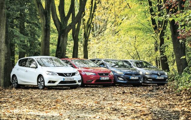 Nissan Pulsar 1.5 dCi gegen Seat Leon 1.6 TDI, Renault Megane dCi 110 Dynamique und Hyundai i30 1.6 CRDi