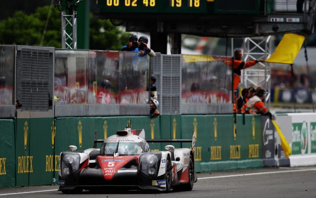 LE MANS, FRANCE - JUNE 19: Race leader Kazuki Nakajima of Toyota Gazoo Racing suffers engine problems with less than 3 minutes to run of the Le Mans 24 Hour race handing victory to the Porsche Team at the Circuit de la Sarthe on June 19, 2016 in Le Mans, France. (Photo by Ker Robertson/Getty Images)