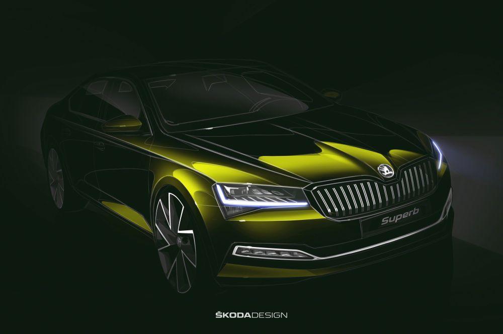 Prima fotografie oficială cu Skoda Superb facelift