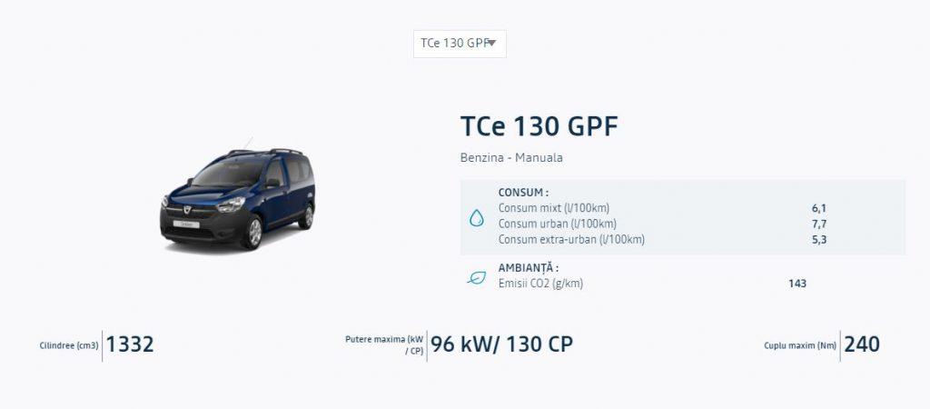 Dacia Dokker poate fi comandată cu noul motor TCe130! Cât costă în România
