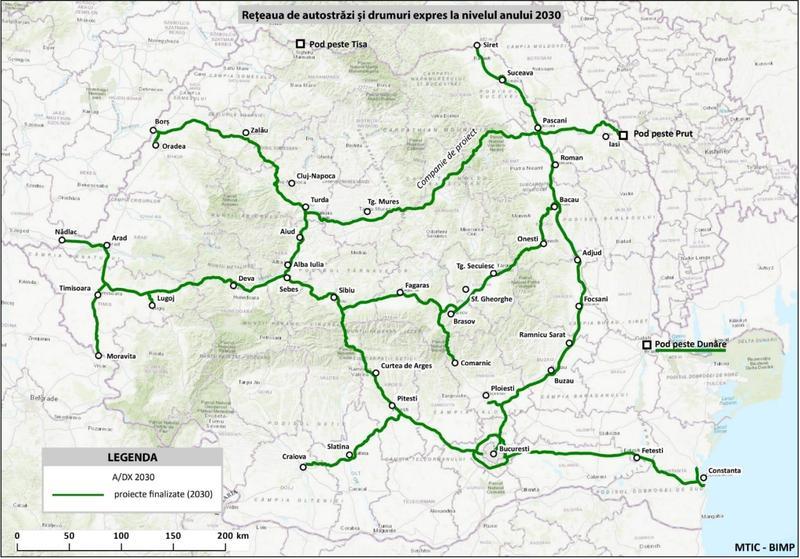 harta autostrazi romania 2030
