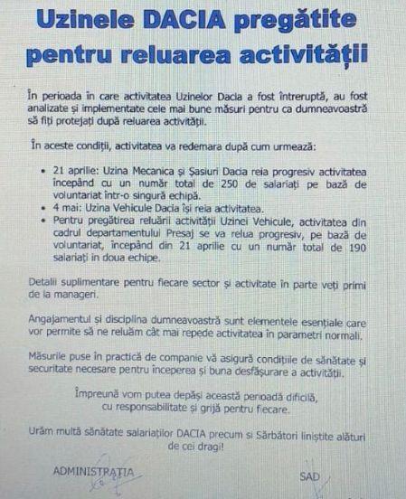 Uzinele Dacia din Mioveni îşi vor relua activitatea progresiv din 21 aprilie